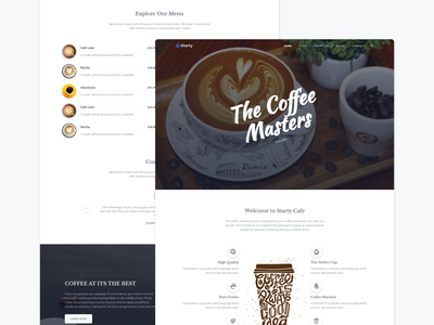 Starty - Cafe Landing responsive multipurpose modern clean illustration agency business bootstrap marketing branding design software saas restaurent cafe coffee