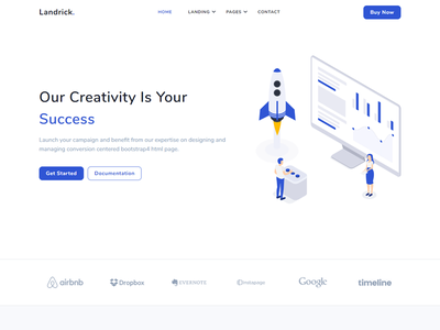 Landrick - Saas & Software branding ui design software personal payment marketing job and careers hotel hosting event enterprise cryptocurrency coworking business bootstrap app and saas agency