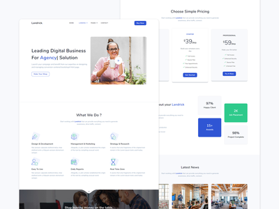 landrick - business ui design branding software personal payment marketing job and careers hotel hosting event enterprise cryptocurrency coworking business bootstrap app and saas agency