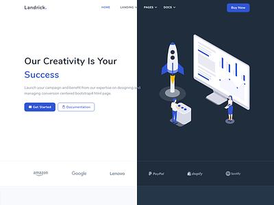 Landrick coworking bootstrap app and saas software marketing design branding enterprise business agency