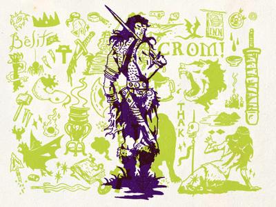 Conan Flash sharpie illustration hyboria weird tales robert e. howard crom tattoo flash conan the barbarian conan