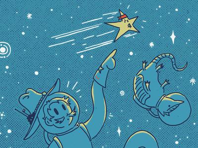 Space Cowboy illustration bright explore armadillo stars texas space cowboy