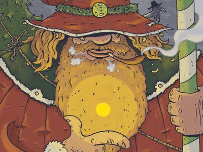 santa wizard spells holiday christmas old ones magik yuletide yule wizard illustration santa
