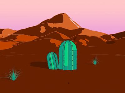 Desert Daze desert cactus render motion design motion graphics loop mograph cinema4d 3d illustration animation