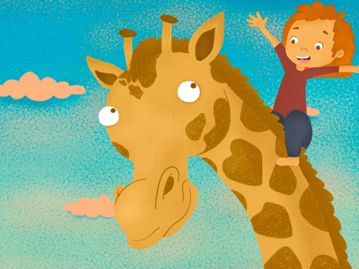 Girl on a giraffe