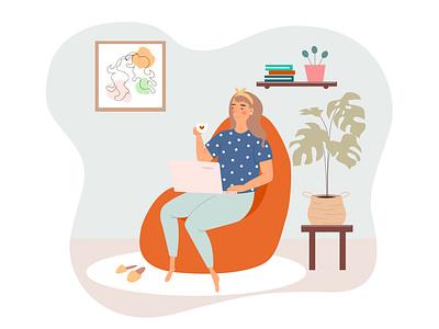 Freelancer young girl works at home home workshop freelancer people flat cartoon illustrator vector design illustration
