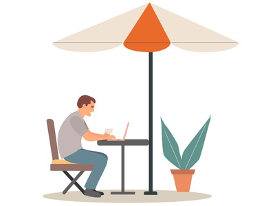 Freelancer young man working outside the home vectorart illustrator freelance freelancer vector design illustration