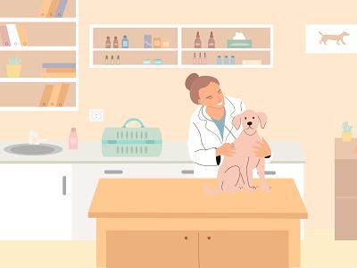 Veterinarian treats a pet. Veterinary clinic, health service or veterinary clinic pet treats veterinarian illustrator vector vectorart design character design illustration