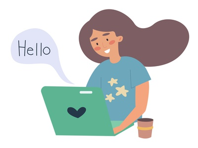 A young girl working on a laptop with a cup of coffee. cart cartoon vector character design character design illustration