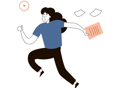 The manager worker is late and runs to work with documents. Cloc manager vector document latest clock worker character design character design illustration