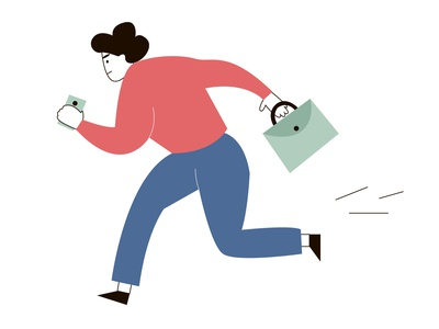 Employee manager hurries to work with a briefcase and a mobile p phone mobile briefcase worker manager vector hurries work character design character design illustration
