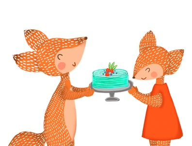 fox gives a cake