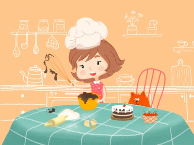 girl cook preparing a cake