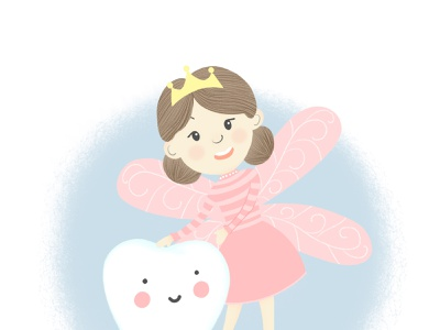 tooth Fairy логотип зубнаяфея девочка зубы стоматология детскаякнига детскаяиллюстрация книга детская иллюстрация