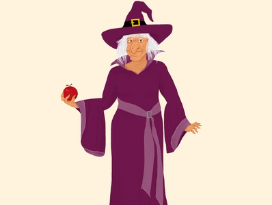 Character Witch with an apple