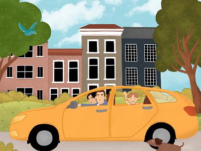 family in car детскаяиллюстрация иллюстрация детская character design childrens illustration children childrens book character design illustration