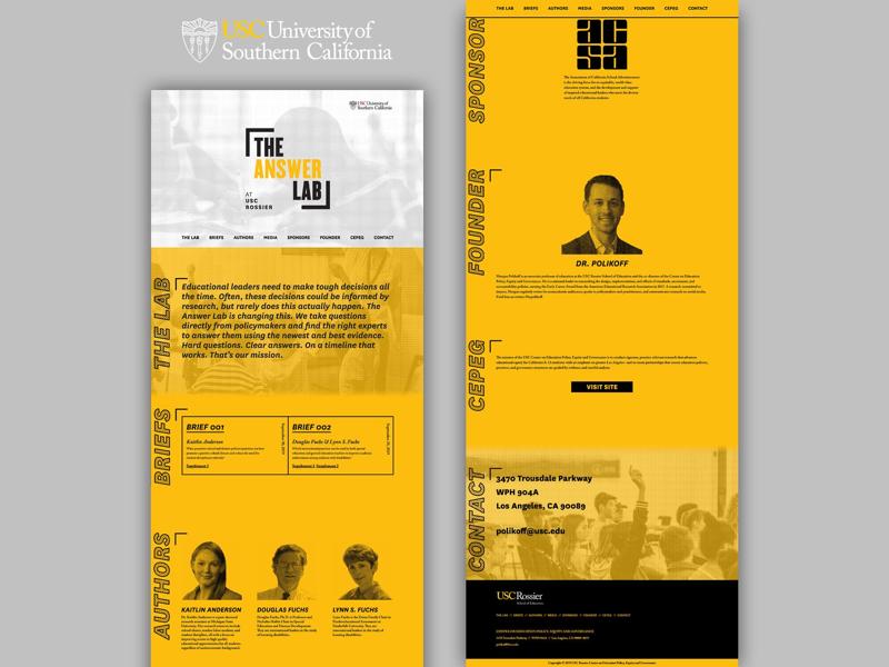 USC Rossier: The Answer Lab california higher ed collegiate usc education design website design website design webdesign