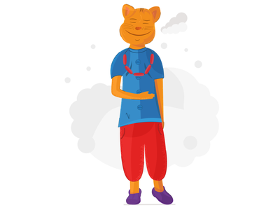 Well-fed Cat joy nature illustration shut eyes belly stroke well-fed dinner appetite food lovely cat animal red trousers blue shirt closed eyes sausages cat smiling cat vector flat