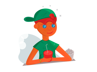 Boy with drink green flat vector illustration