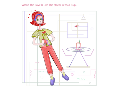 Girl in Love framed background impression pouring out liquid beverage happiness joy cup caffe emotion drink storm love heart red people girl woman green flat