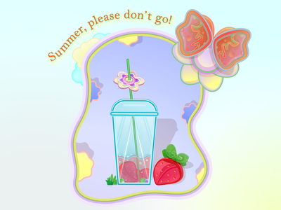Summer forever drink sun joy relax happiness lettering flat illustration strawberry butterfly flowers tube cocktail summer