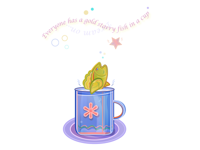 A multicolor fish showing out of a blue cup standing on a plate animal happiness joy flat stripes blue cup water dishes plate liquid drink lettering. circles orange flower cup multicolor star fish web illustration