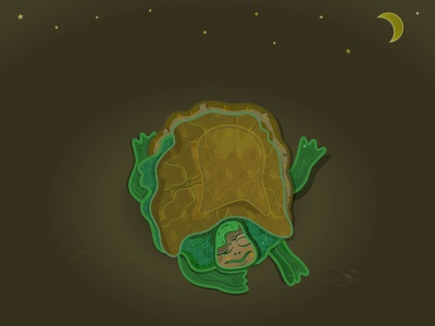 A turtle sleeping on a ground under a moon and stars napping turtle dream ground pattern brown green sleeping turtle nature animal stones moon stars sleep turtle web flat illustration