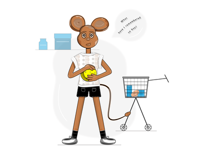 A puzzled mouse standing in a shop with a cheese in its hands. tetra pack shop