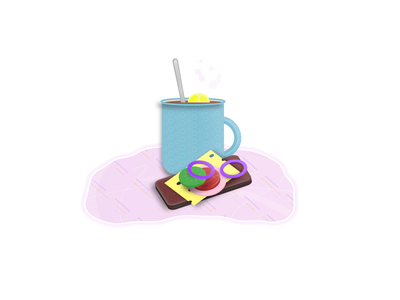 A sandwich and a cup of tea with a lemon web 3d flat illustration dishes dinner drink food slices lemon spoon tablecloth cup sausage bread onion cucumber cheese tomato sandwich