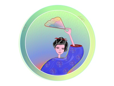 An Asian girl with a fan east illustration multicolor raised hand holding hand circle flower pattern hair stick hair fan chinese japan kimono pattern oriental asian girl asia