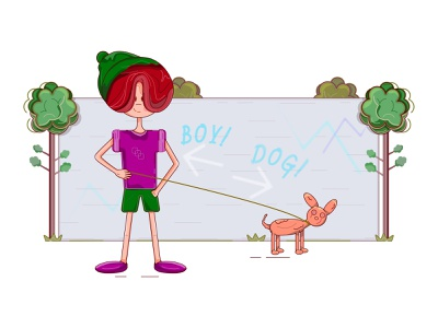 A smiling boy and a dog standing near a wall with some graffiti pets kid people graffiti wall standing near a wall smiling dog leashed dog smiling boy boy in a hat green trees trees summer day arrow points graffiti wall dog hat boy flat illustration