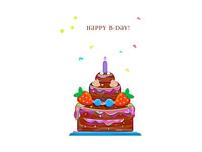 Happy Birthday Cake congratulation candle birthday party holidays birthday card cream cake dessert happy birthday cupcake pastries berries strawberries vector sweets celebration chocolate birthday cake food