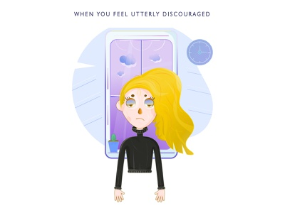 A frustrated and bored girl standing near a window yellow hair unhappy face utterly discouraged sad look sad face unhappy girl frustrated girl hanging down hands girl near a window clock on a wall cactus pot woman discouraged girl female lady girl in black roll-neck
