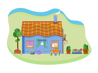 A small country house village house village summer day green flat polka dot curtains windows lamp on a windowsill wall lamp climbing plants watering can flower pots cat on a bench playing cat apples apple tree yard garden countryside country house