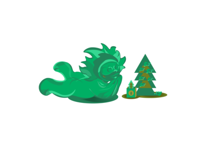 green_creature with new_year_tree