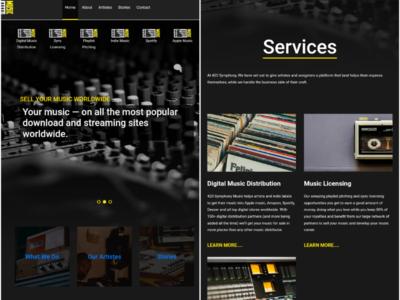Website Design for Music Licensing platform website design ui dark theme