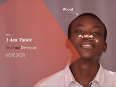 WEBSITE UI FOR TUNDE TYLER, WEB DEVELOPER & UI/UX DESIGNER web design frontend uiux