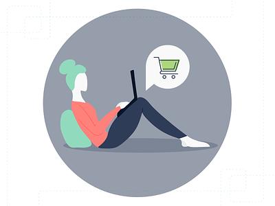 Usermind - Customer Illustration illustrator people people illustration online shopping shopping customer vector flat branding simple illustration design