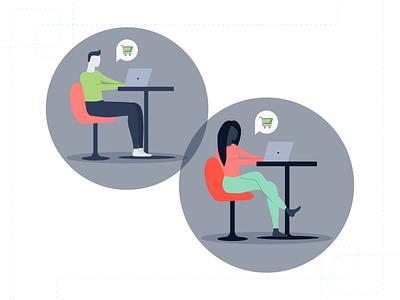 Usermind - Customer Illustration online shopping customer experience people illustration people customer vector flat branding simple illustration design