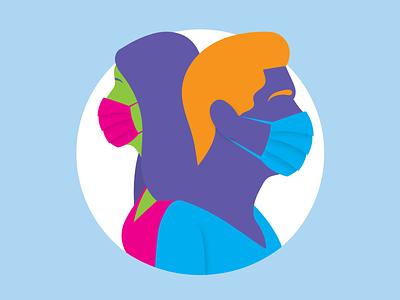 Wear a Mask Illustration covid-19 corona 2020 masks pandemic covid wear a mask illustrator social media vector flat simple illustration design