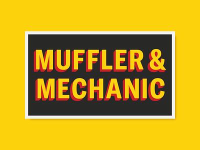 Muffler & Mechanic black yellow red sticker mechanic muffler