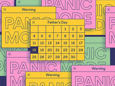 Panic Mode! halftone panic warning calendar father
