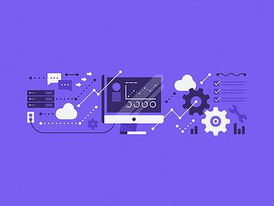 Product Illustration performance communicate data cloud servers optimize predict graphs flow stream computer cog