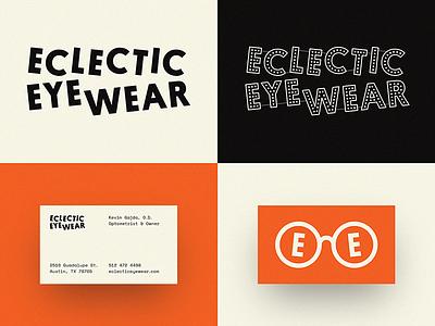 Eclectic Eyewear business card wordmark logo logotype rebrand neon specs glasses eyewear eclectic