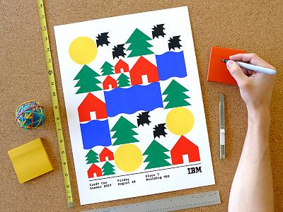 IBM Make Lab × Craft Con summer rivers houses bats sun camp trees geometry shapes craft con make lab illustration