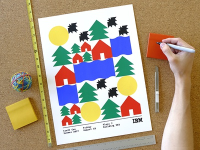 IBM Make Lab × Craft Con summer rivers houses bats sun camp trees geometry shapes craft con make lab illustration