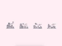 Cities icon set
