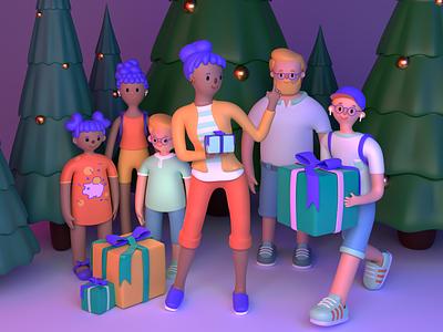 Merry Christmas ⛄️🎄❄️ | 3D Illustration for Strive family character blender3d christmas illustration fintech blender 3d