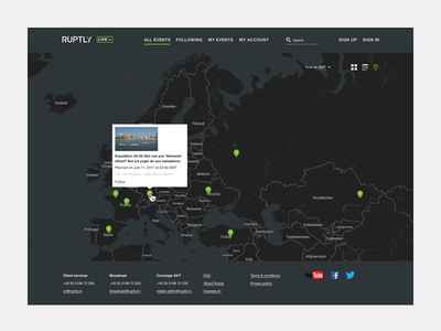 Map of events design site web hover streams events map
