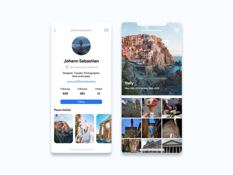 Daily UI Challenge #6 - User Profile italy user experience design user profile user interface socialmedia mobile ui mobile design userprofile ui travel dailyui
